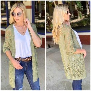 Olive Open Knit Kimono